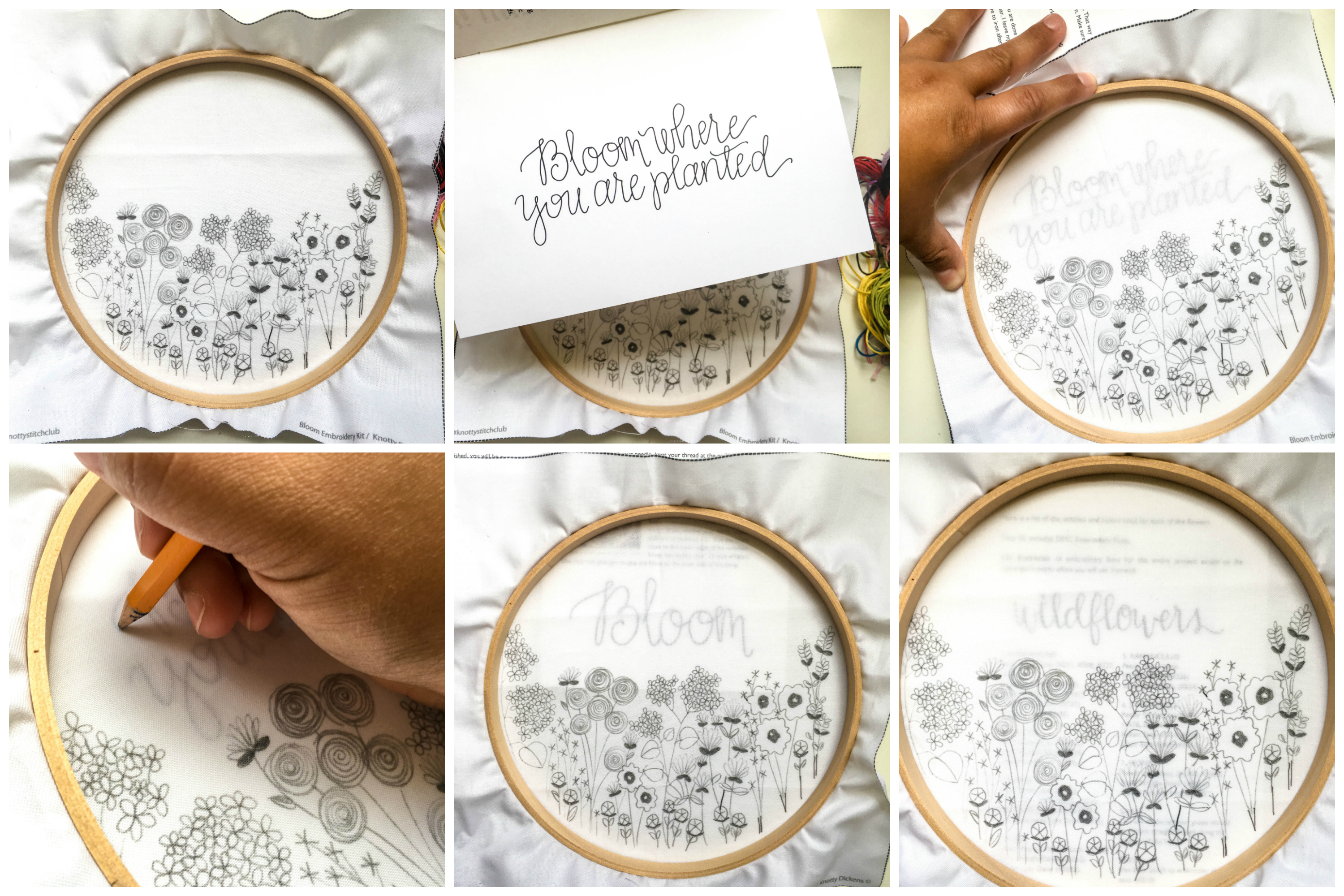 Transfer Pattern to Fabric Tutorial with Pencil Hand Embroidery